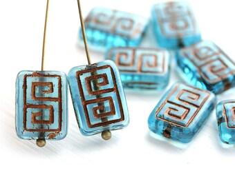 8pc Aqua Blue Rectangle czech beads, Copper inlays, Greek Key, Carved glass beads - 12x9mm - 1987