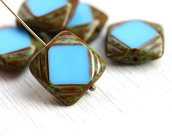 Turquoise Blue Square beads,  Czech glass beads, picasso finish, table cut, squares - 15mm - 4Pc - 2569