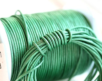 1mm Round Natural Leather cord - Metallic Green - 10 feet, LC044