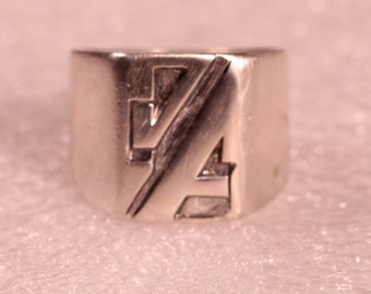 Vintage Art Deco Signet Ring Sterling Signet Ring Modernist Signet Ring 1930s French Jewelry Size 7.25 US
