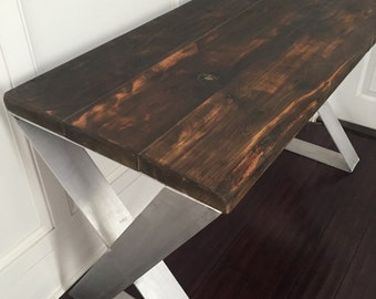 Reclaimed Wood and Aluminum Desk