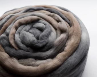 Merino wool roving wool tops spinning fibre, felting wool, needle felting wool 100 grams 19.5 micron Brown Grey 11599
