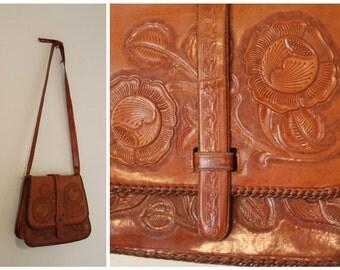 vintage leather tooled purse bohemian handbag crossbody shoulder bag