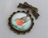 Robin Brooch .. bird brooch, Christmas brooch, woodland, festive, vintage inspired  brooch