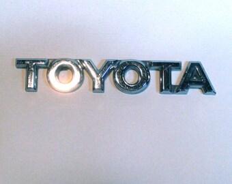 Chrome TOYOTA Emblem, car nameplate, custom car, automobile, 4 1/8 inches