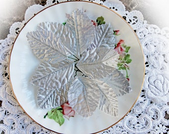 Reneabouquets Christmas Collection~Silver Leaves  Scrapbooking DIY Embellishment, Set Of 10