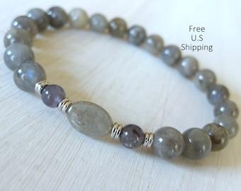 Iolite, Labradorite, Mala. meditation, yoga bracelet, bracelet, mala beads, wrist mala, labradorite bracelet, Iolite bracelet, spiritual