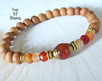 Sandalwood,  Carnelian, Yoga Bracelet, Meditation bracelet, Reiki Charged, wrist mala, Nepalese bracelet, mala, sandalwood bracelet