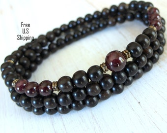 Men's 108 Mala, Garnet, Ebony wood, Necklace or bracelet, Mens mala, prayer beads, wrap bracelet, Garnet, wood mala, wrist mala, garnet mala