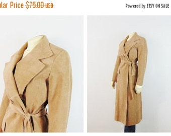 CLOTHING SALE Vintage Coat 70s Faux Suede Belted Trench Coat The Carriage on the Park , Union Made in USA Modern Size Small to Medium