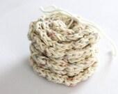 SHOP CLOSING SALE Flower Face Scrubby Set . Set of 3 . Crochet . 100 Percent Cotton . Oatmeal, Pink, Blue & Purple