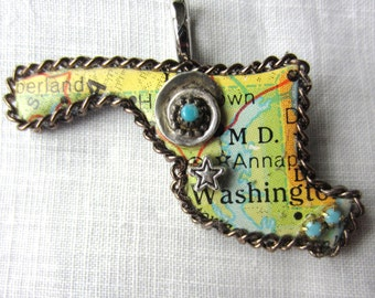 Maryland State Puzzle Piece Pendant Necklace