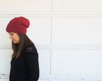 Slouchy hat, beanie, touque, knit hat, crochet hat -- Willow slouch hat - cranberry