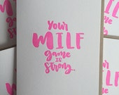 Baby Shower Card / New Mom Card / Pregnancy Card / New Baby Card / MILF card / Letterpress Baby Cards / DeLuce Design