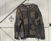 Heavy wool, patchwork sweater, Boho sweater, Wool cardigan, Rustic wool cardigan, L, woodland cardigan, Upcycled clothing