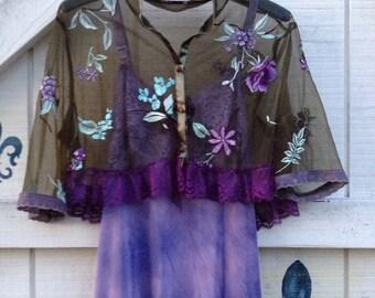 Slip dress S hippie slip gypsy artsy dress sundress upcycled slip jacket included