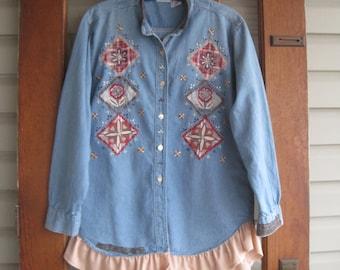 Bohemian shirt, Rustic denim shirt, hippie chic cowgirl, light blue denim, M-L, hippie denim shirt, denim,  eco fashion clothing