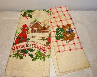 Vintage Christmas Kitchen Towel Pair Bear Country Scene