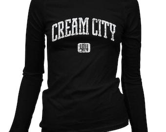 Women's Cream City 414 Milwaukee Long Sleeve Tee - S M L XL 2x - Ladies' Milwaukee T-shirt, Wisconsin - 3 Colors