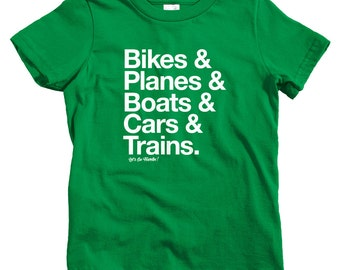 Kids How I Travel T-shirt - Baby, Toddler, and Youth Sizes - Adventure Tee, Explore, Bike, Airplane, Train, Car - 4 Colors