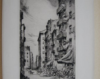 """Nat Lowell """"Hester Street"""" original etching signed in pencil dated 1928"""