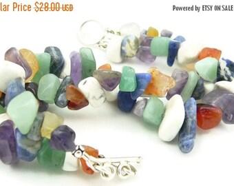SALE Mixed Gemstone Double Strand Chunky Bracelet - Artisan Jewelry
