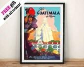 GUATEMALA REISE POSTER: Vintage Maya Anzeige, Kunstdruck Wand Hängen