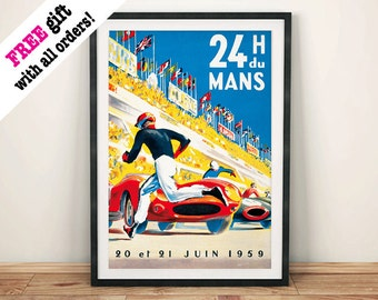 24h LE MANS POSTER: Vintage Motor Racing Car Reproduction, Art Print Wall Hanging