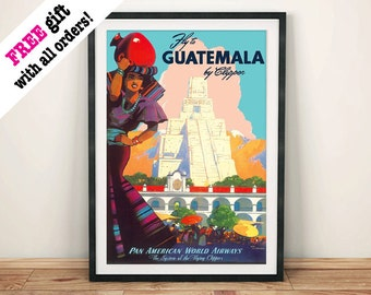 GUATEMALA TRAVEL POSTER: Vintage Mayan Advert, Art Print Wall Hanging