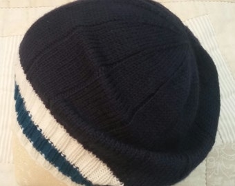 Hand knit hat, navy wool hat, superwash wool beanie, merino hat, blue knit hat, striped wool hat, teal blue slouchy hat