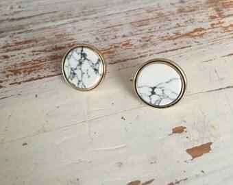 White marble and gold round stud earrings, minimal geometric earrings