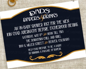 Man Diaper Baby Shower Dad Drinks and Diapers Pub Party Digital Printable File with Professional Printing Option
