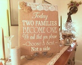 Burlap Wedding Sign Today Two Families Become One Romantic Rustic Directional Seating Ceremony Guests 16 x 20 Wrapped Canvas Lace Stenciled