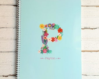 Floral Monogram Personalized Notebook - Custom Spiral Notebook with Name - Softcover Note Book - Back to School Gift for Kids, Teens