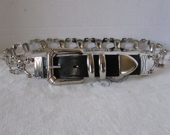 Scull Head Belt Silver Leather