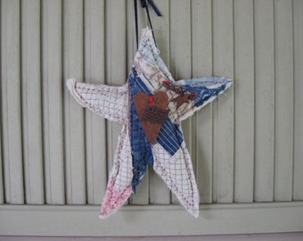 Star Stuffed Hanging Ornament Accent Red White Blue Americana Flag Star Heart made from Vintage Quilt Home Decor Patriotic Decor