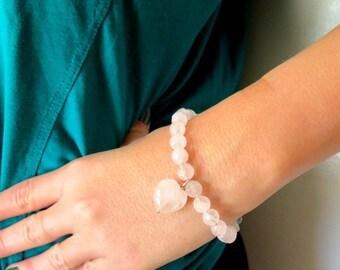 Natural Rose quartz bracelet, Heart gemstone bracelet, Gemstone Rose quartz, Pink bracelet, Pink stone, Healing bracelet, Feminine jewelry.