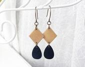 Tagua Nut Earrings - Tagua Jewelry - Eco Friendly Jewelry - Teardrop Earrings - Long Dangle Earrings - Nut Jewelry