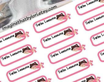 Girl swim lesson planner stickers
