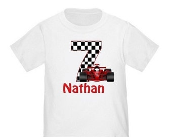 ON SALE Personalized Birthday Shirt Race Car Birthday T-shirt - Any Age