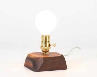 Faceted Pedestal Lamp- Lighting, Table Lamp, Wooden Gem Lamp, Solid Wood Lamp, Edison Bulb Lamp