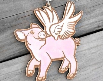 Flying Pig Wood Necklace