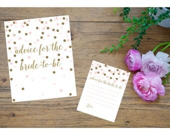 BRIDAL shower printable sign kit set games activity advice for bride to be gold glitter pink dot calligraphy cursive pdf jpg