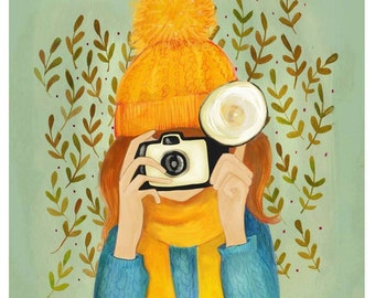 Girl with a Camera 8 x 10 inch print