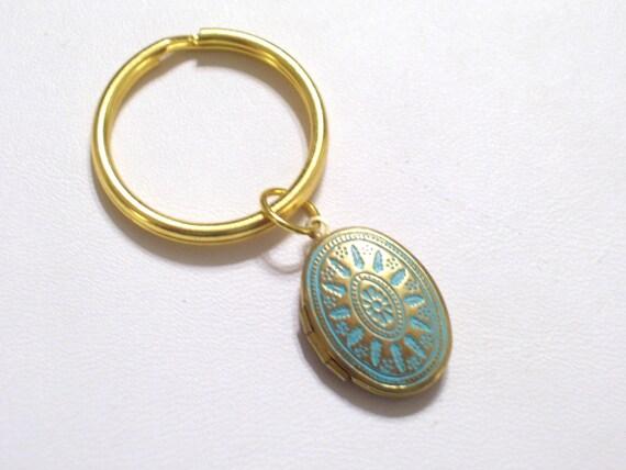 Aqua And Gold Brass Art Deco Locket Key Chain Aqua Patina