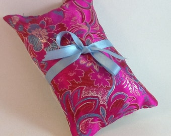 Elegant Herbal Hops Pillow - Bright Fuschia Brocade  with Blue Floral accents, Hops Pillow