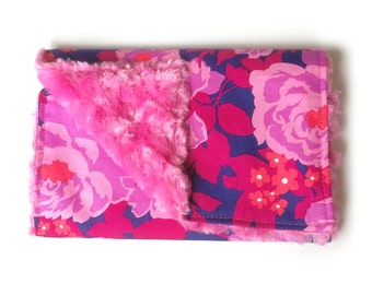 Dewberry Flowers - Burp Cloth with hot pink rosette minky for baby girls
