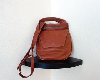 Vintage Buttery Soft Shoulder Leather Station Crossbody Man Purse Bag Satchel Saddle  Whiskey Tan