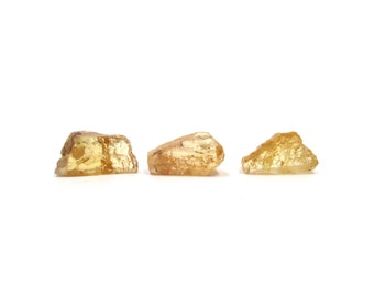 Imperial Topaz 3 Raw Crystals 14mm - 16mm x 8mm - 9mm Golden Yellow Orange Natural Rough Stones for Jewelry Making (Lot 1081) Raw Mineral