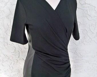 Vintage DKNY black shirt, Faux leather, Black T shirt, Designer, Evening wear
